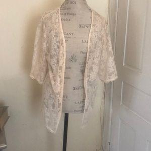 Express kimono lace open front